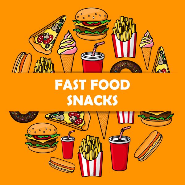 Creative fast food background vector design 07