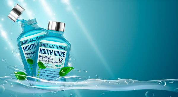 Creative mouth rinse ads template vector 01