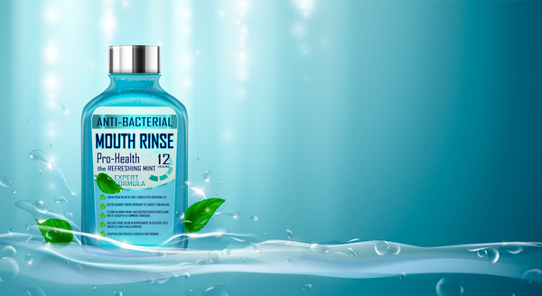 Creative mouth rinse ads template vector 02