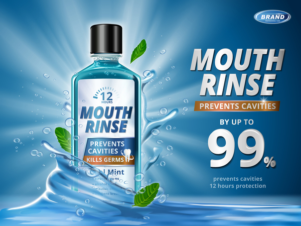 Creative mouth rinse ads template vector 04