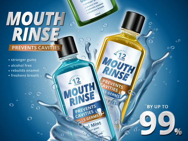 Creative mouth rinse ads template vector 05