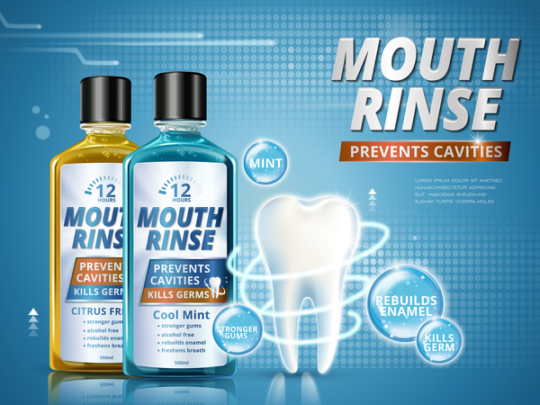 Creative mouth rinse ads template vector 08