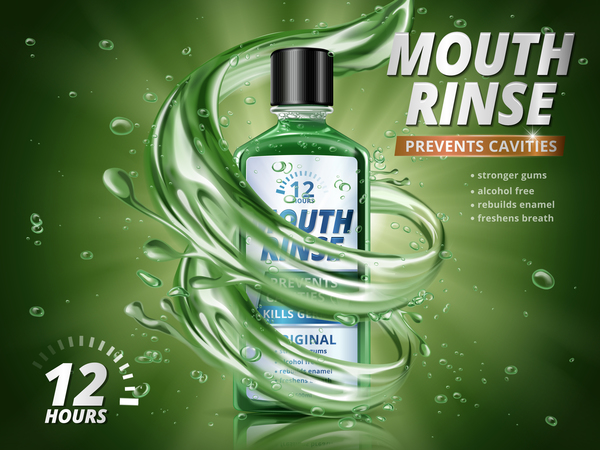 Creative mouth rinse ads template vector 09