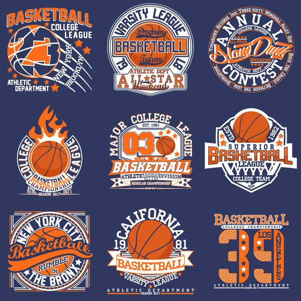 Creative retro basketball labels vector