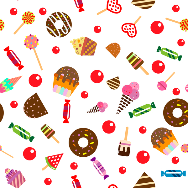 Cupcake with candy seamless pattern vector