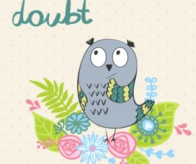 Cute cartoon owls vector material 01