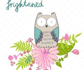 Cute cartoon owls vector material 02