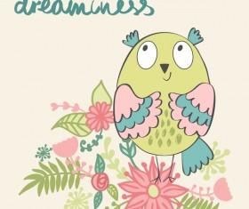 Cute cartoon owls vector material 05