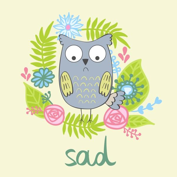 Cute cartoon owls vector material 06