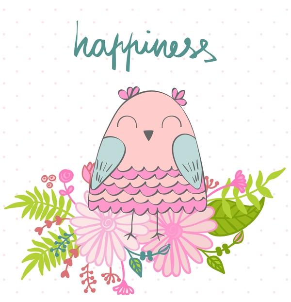Cute cartoon owls vector material 07