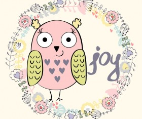Cute cartoon owls vector material 08