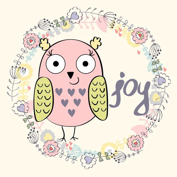 Cute cartoon owls vector material 08