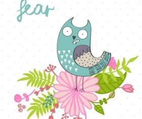Cute cartoon owls vector material 09