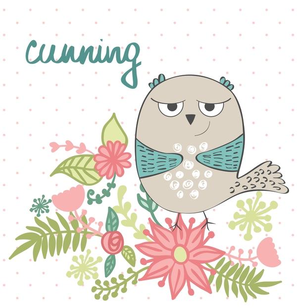 Cute cartoon owls vector material 12