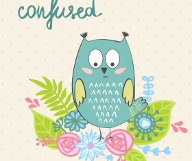 Cute cartoon owls vector material 13