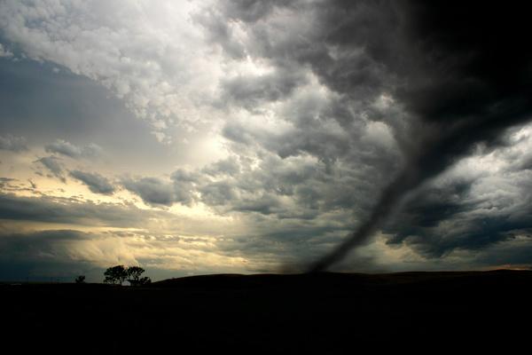 Dark sky tornado Stock Photo