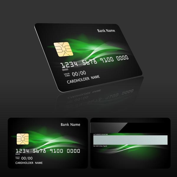Dark styles bank card template vector 01