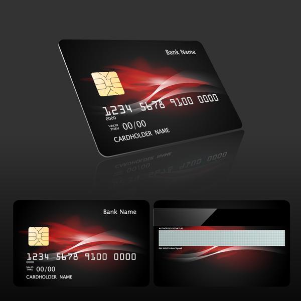 Dark styles bank card template vector 02