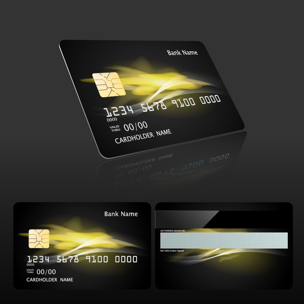 Dark styles bank card template vector 03