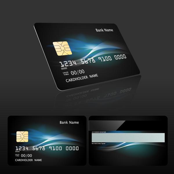Dark styles bank card template vector 04