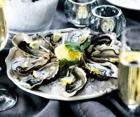 Delicious oysters and wine Stock Photo