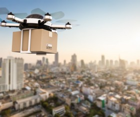 Delivery drones flying Stock Photo 01