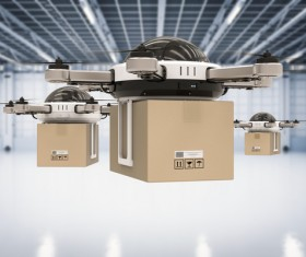 Delivery drones flying Stock Photo 04