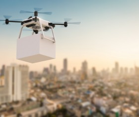 Delivery drones flying Stock Photo 09