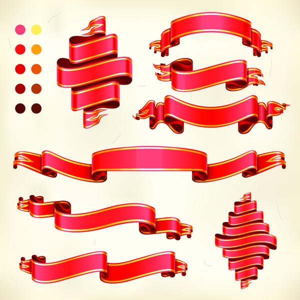 Different red ribbon vector material