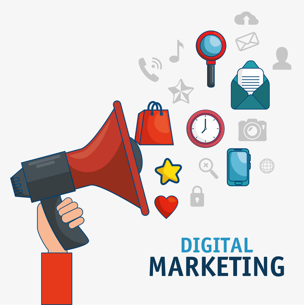 Digital marketing flat business template vector 01