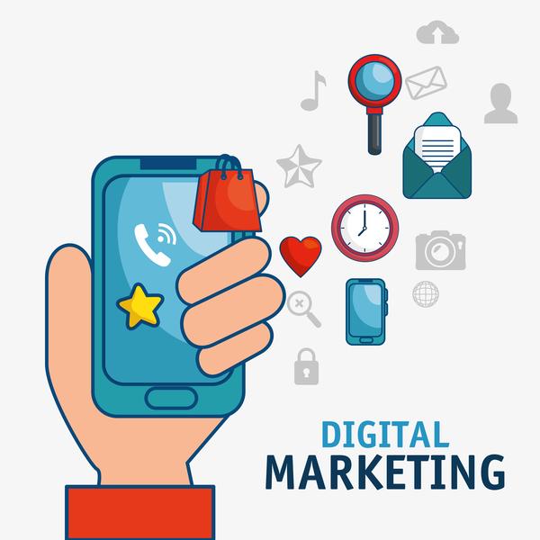 Digital marketing flat business template vector 02