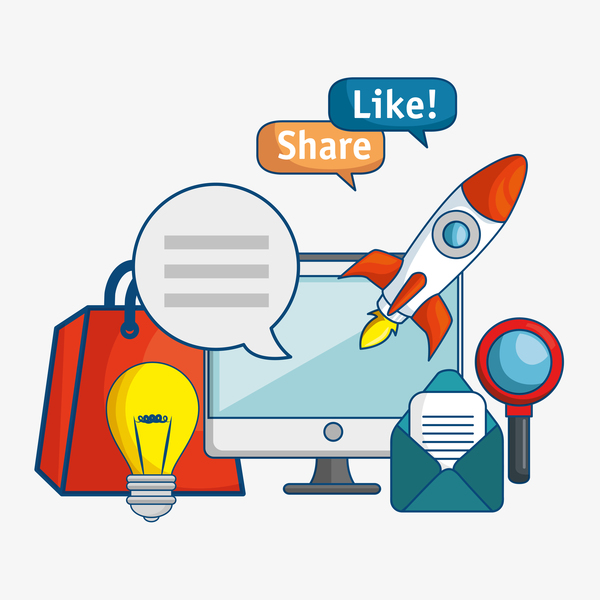 Digital marketing flat business template vector 04