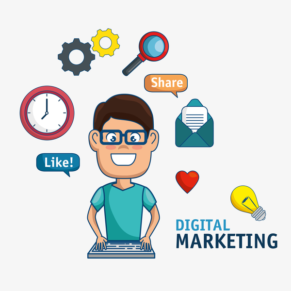 Digital marketing flat business template vector 05