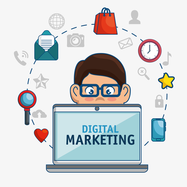 Digital marketing flat business template vector 06