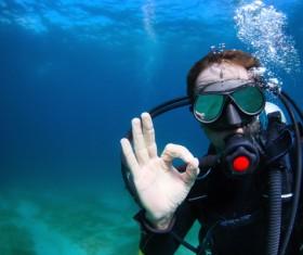 Diver OK gesture Stock Photo
