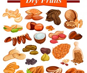 Dry fruits vector material