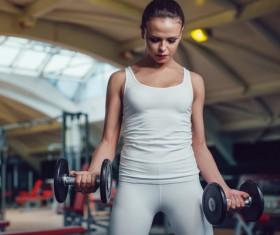 Dumbbell fitness girl Stock Photo 01
