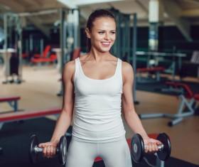 Dumbbell fitness girl Stock Photo 03