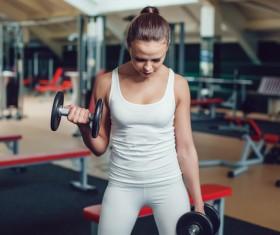 Dumbbell fitness girl Stock Photo 04