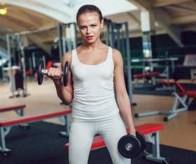 Dumbbell fitness girl Stock Photo 05