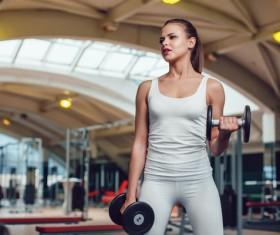 Dumbbell fitness girl Stock Photo 06