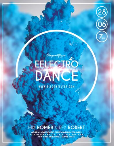 Electro Dance Flyer Template with Facebook Cover PSD material