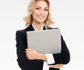 Embrace folder young business woman Stock Photo