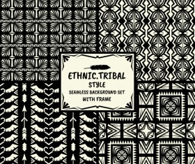 Ethnic tribal style seamless background with frame vector 02