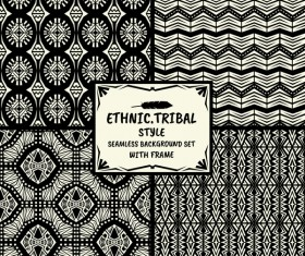 Ethnic tribal style seamless background with frame vector 03