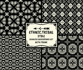 Ethnic tribal style seamless background with frame vector 04