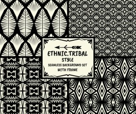 Ethnic tribal style seamless background with frame vector 07
