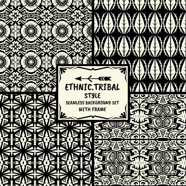Ethnic tribal style seamless background with frame vector 09