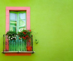 European windows with green walls HD picture