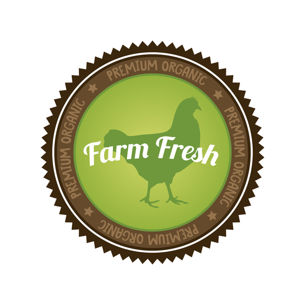Farm fresh organic food badge vector 01
